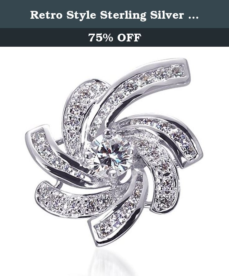 2d149632930 Retro Style Sterling Silver Rhodium Nickel Finish CZ Swirling Lights Brooch.  This beautiful profusion of swirling rays of lights is created from Rhodium  ...