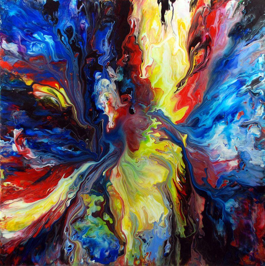 Acrylic fluid painting by mark chadwick rainbow colors group