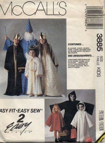 1980s mccalls 3885 boys girls halloween costumes sewing pattern vintage costume sewing pattern wizard grim reaper ghost king queen little red riding