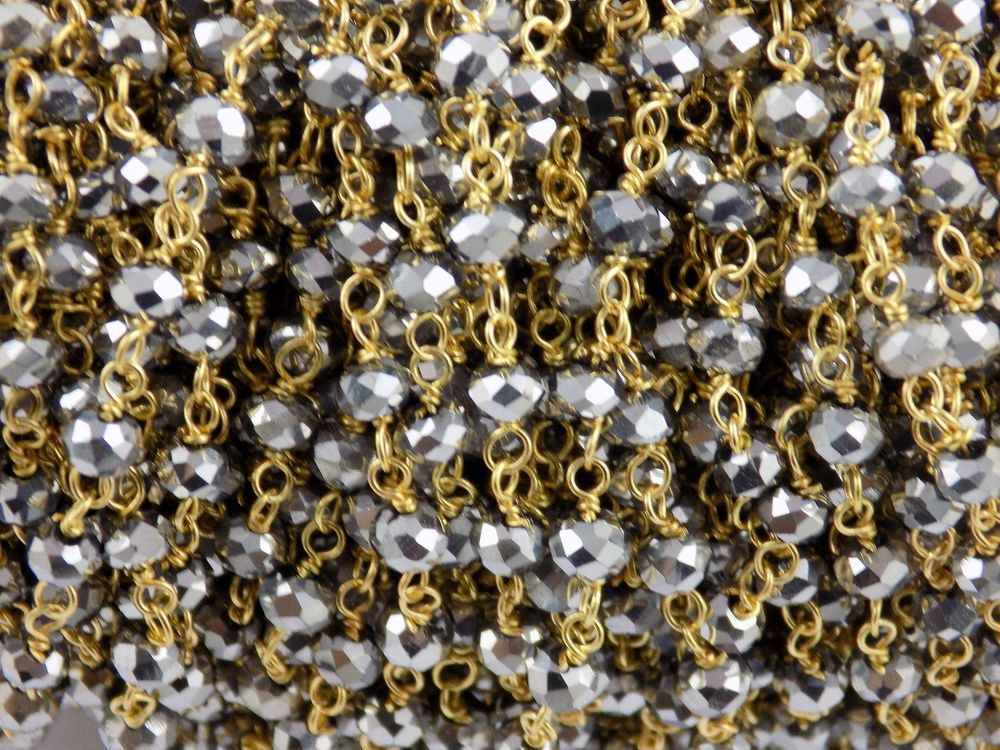 10 Feet Silver Pyrite Hydro Seed Beads 3-4mm 24k Gold Plated Wire Wrapped Beads