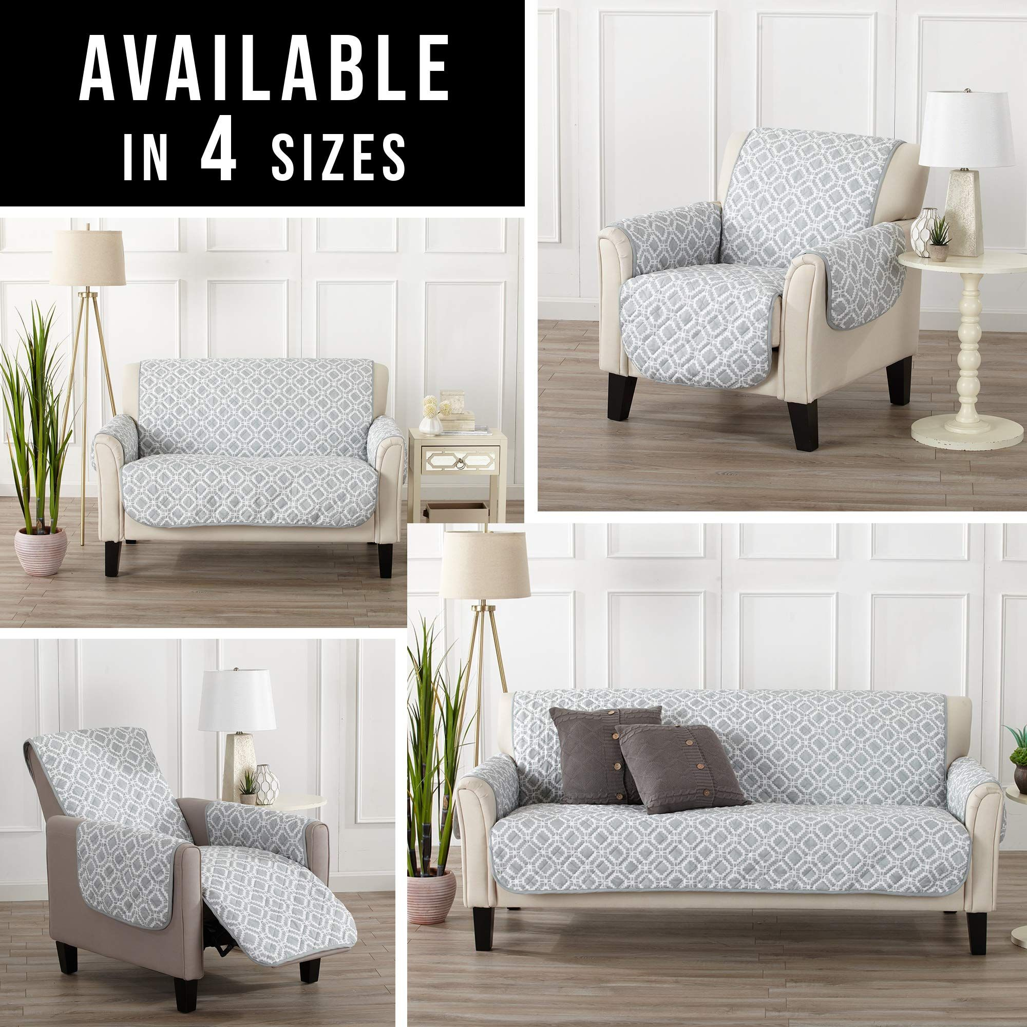 Reversible Couch Cover For 3 Cushion Couch Printed Sofa Covers For Living Room With Secure Straps Protect From Kids In 2020 Printed Sofa Couch Covers Sofa Colors #seat #covers #living #room