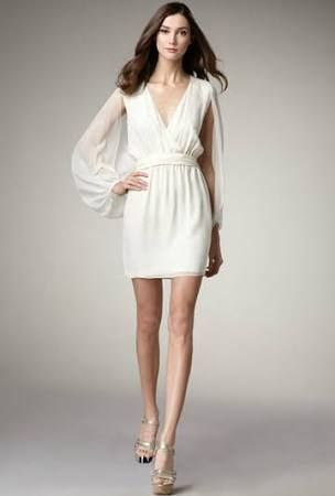 76f93e50e2b85 Wonderful White Chiffon Column Cocktail Dress with Bishop Sleeves ...