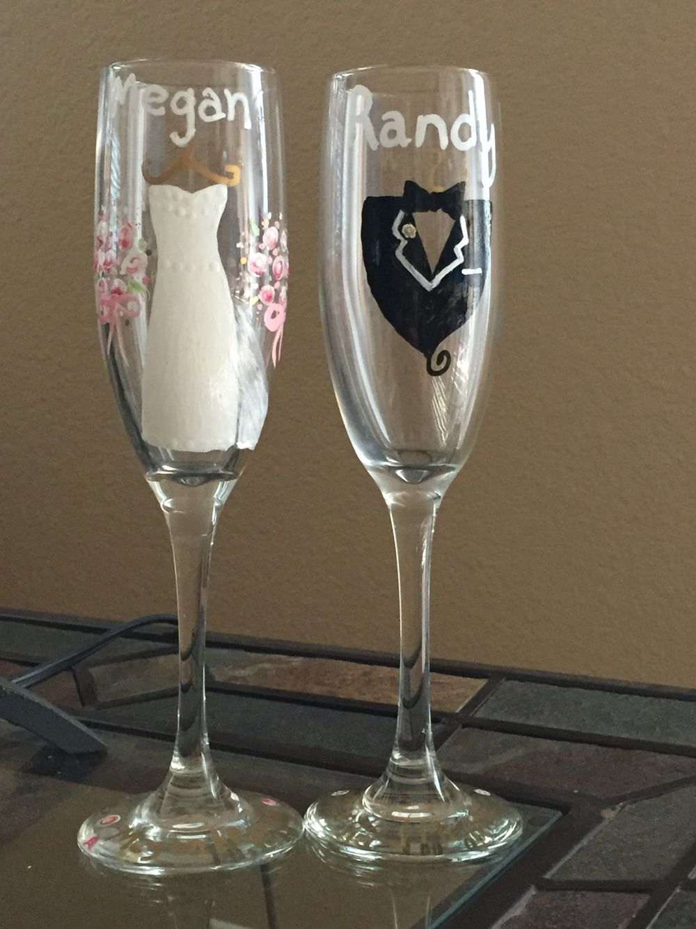 Hand painted champagne glasses our wedding uc pinterest