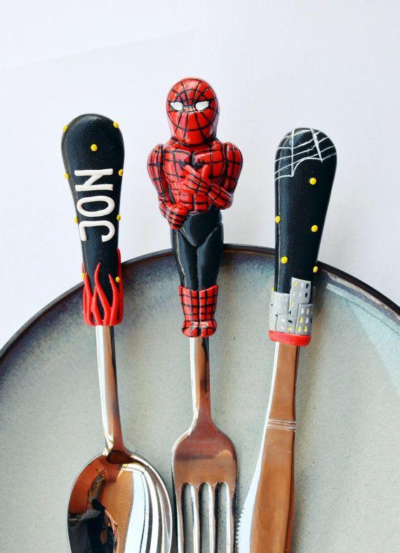 Spiderman Silverware set Kids Gift for Dad or Boy by RadArtaDesign