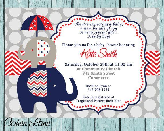 Blue And Red Elephant Baby Shower Invitation Printable Boy Chevron