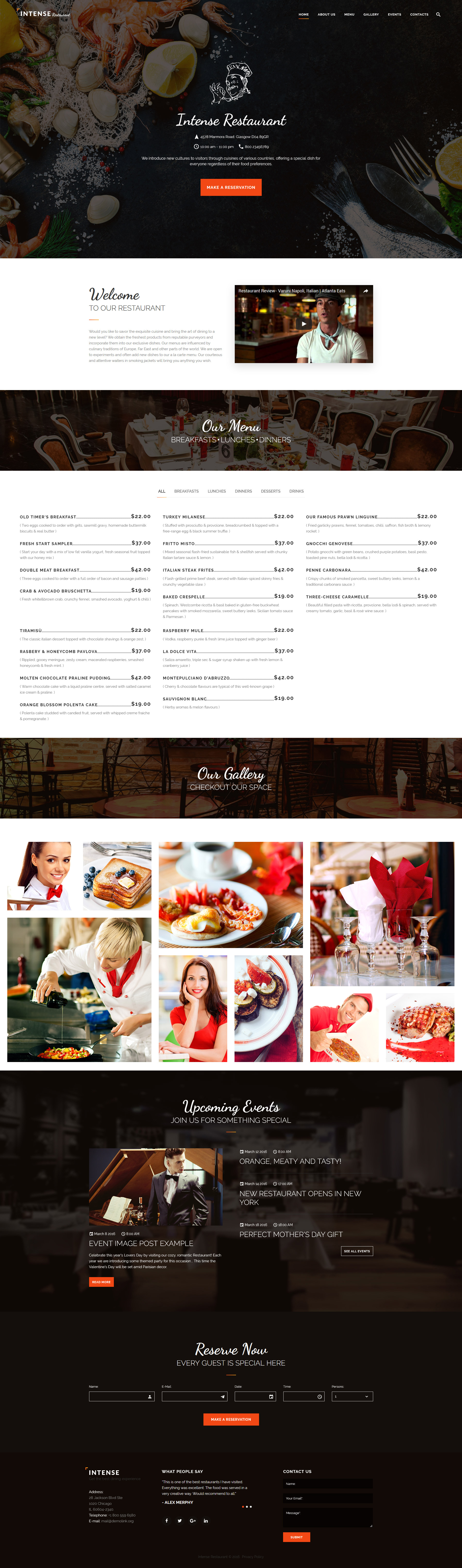 Intense Restaurant Website Template New Website Templates