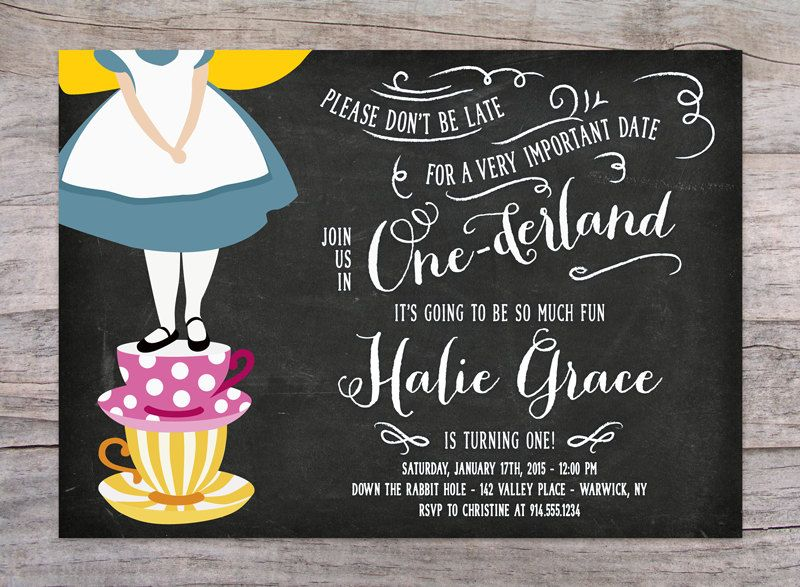 Alice in Onederland Birthday Party Invitation by SprinklesByGracie