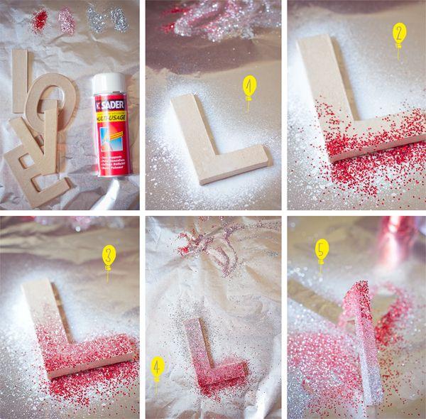 Diy love letters paillettes anniversaires et lettres - Diy deco mariage ...