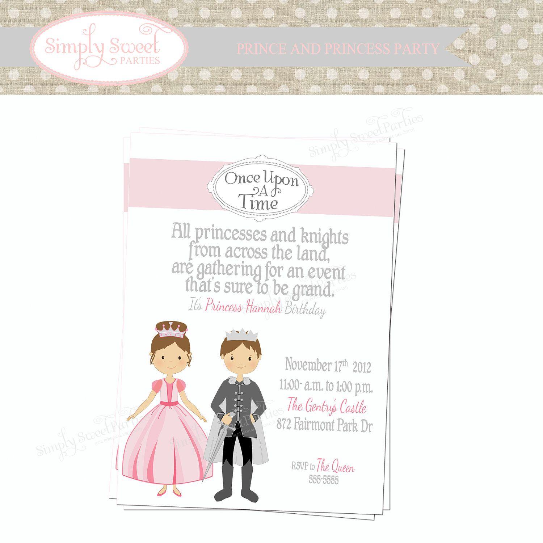 Knight & Princess Birthday Party Invitation   Birthday Party Ideas ...