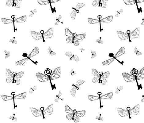 Flying Keys plain fabric by bella_irae on Spoonflower