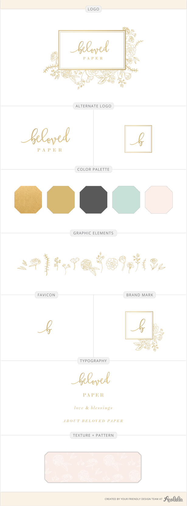 Belove Paper logo. A logo and brand identity for a custom stationery designer specializing in weddings.