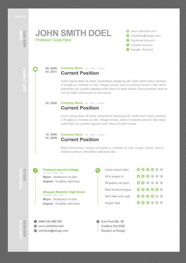 11 Dazzling Creative Resume Templates Professional services, Psd - web design resume template