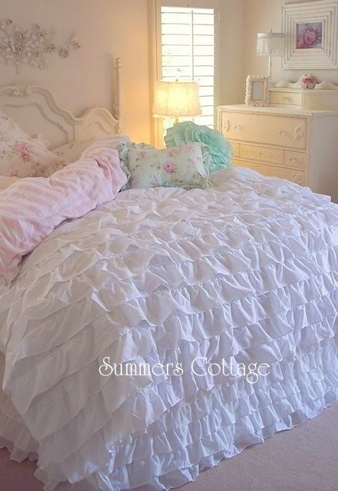 Beach Cottage Chic Dreamy White Ruffles Comforter Set Queen Or