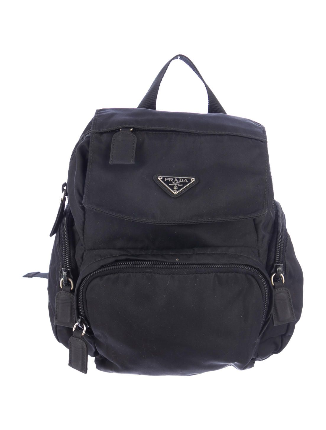 8fdcc60957e1bb ... amazon black prada nylon mini backpack with three front zip pockets  adjustable shoulder straps and top