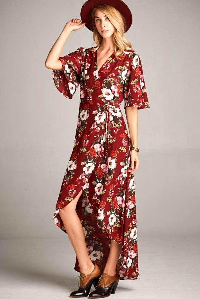 Wilhelmina Floral Wrap Maxi Dress Burgundy Maxi Dress