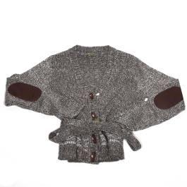 chaqueta de pico en punto tricot (100% acrílico) de mujer, en una galga gruesa en un tejido mollineé con greca en la parte inferior de la prenda. Lleva botones de madera cierre tipo sailor, coderas de poli piel a contraste y cinturón.