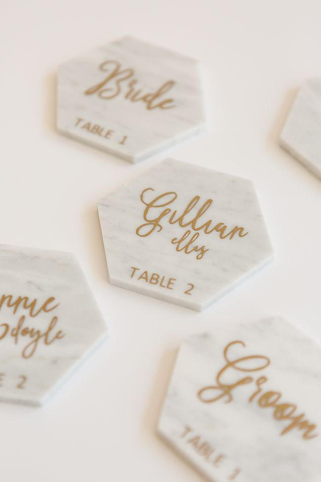 Diy Calligraphy Marble Place Cards With Cricut Place
