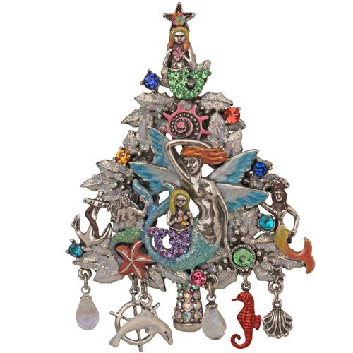 Mermaid\u0027s Magic Christmas Tree Pin/Enhancer (Antique Silvertone