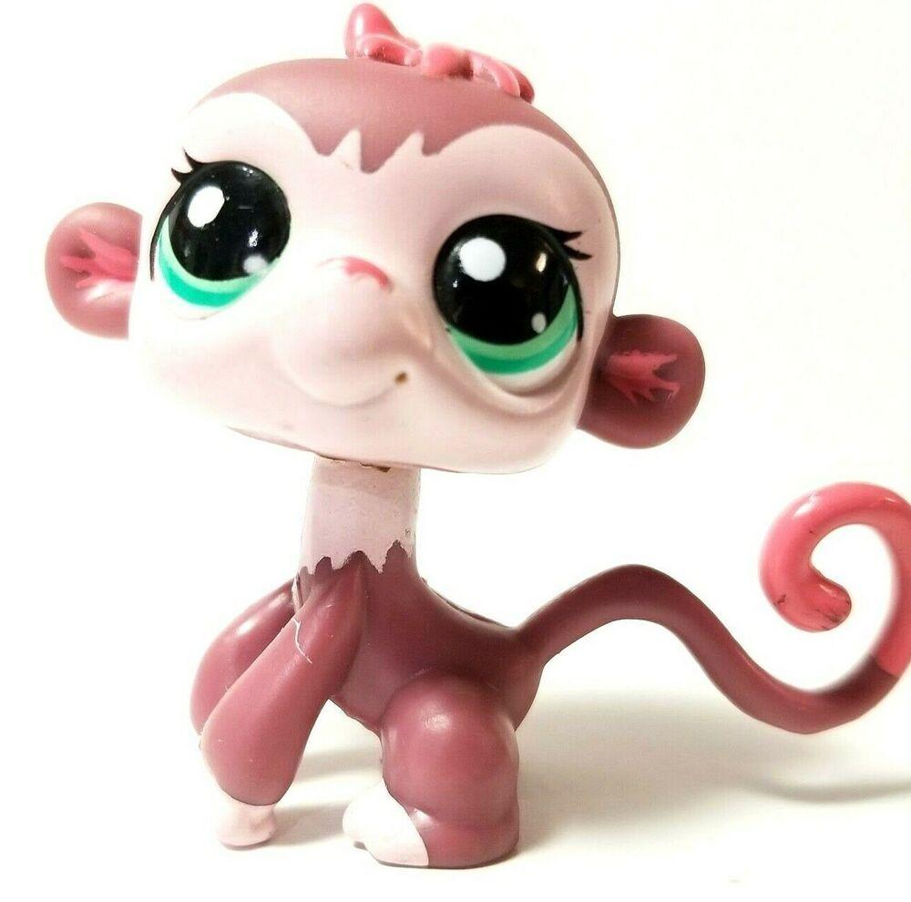 Lps Littlest Pet Shop Toy 2007 Monkey 2469 Brown Pink Green Eyes