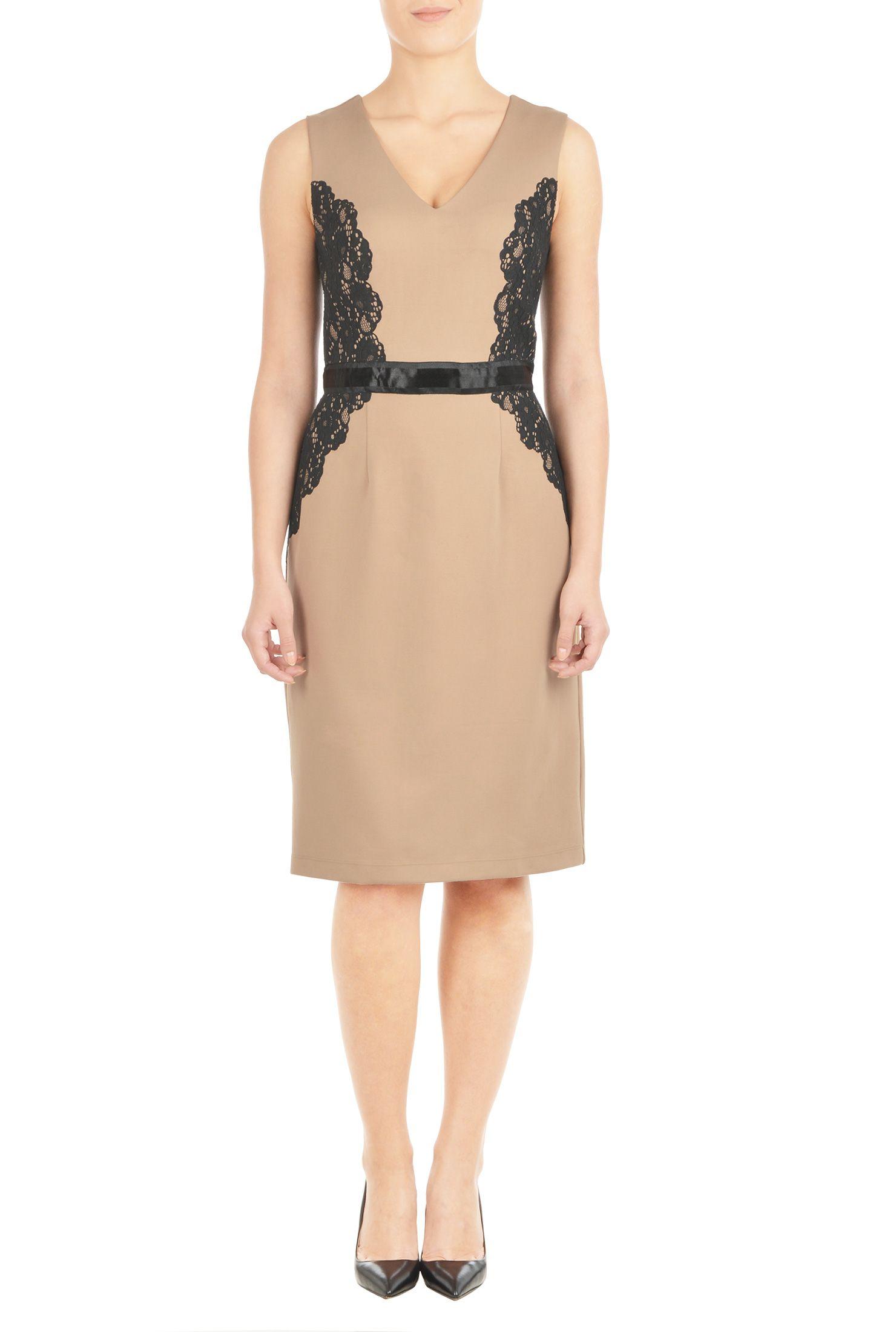 Back vent dresses back zip dressses beige dresses below knee