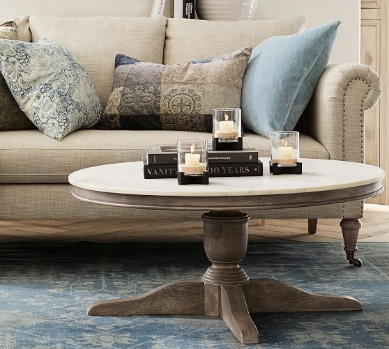 Alexandra Marble Round Coffee Table Coffee Table Pottery Barn