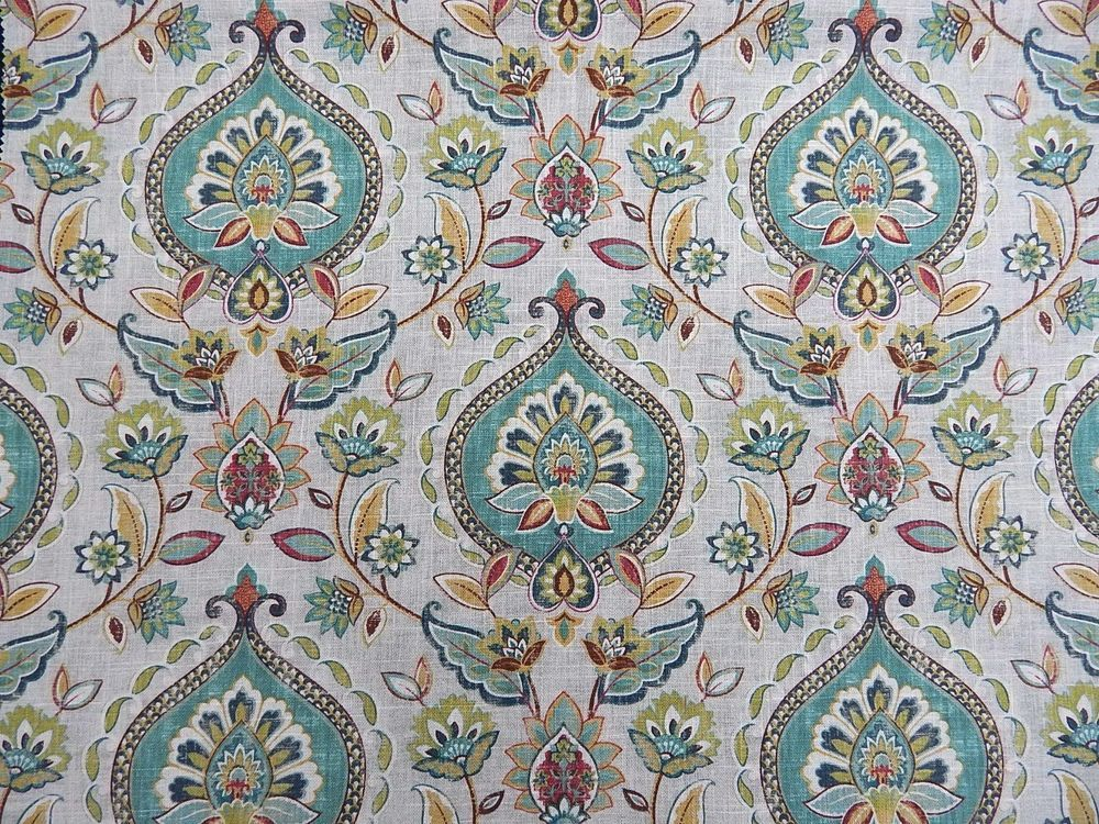 NEW FABRIC  4 Drapes Swavelle's Quintell Joyous Medallion in  Bay Water  LINEN