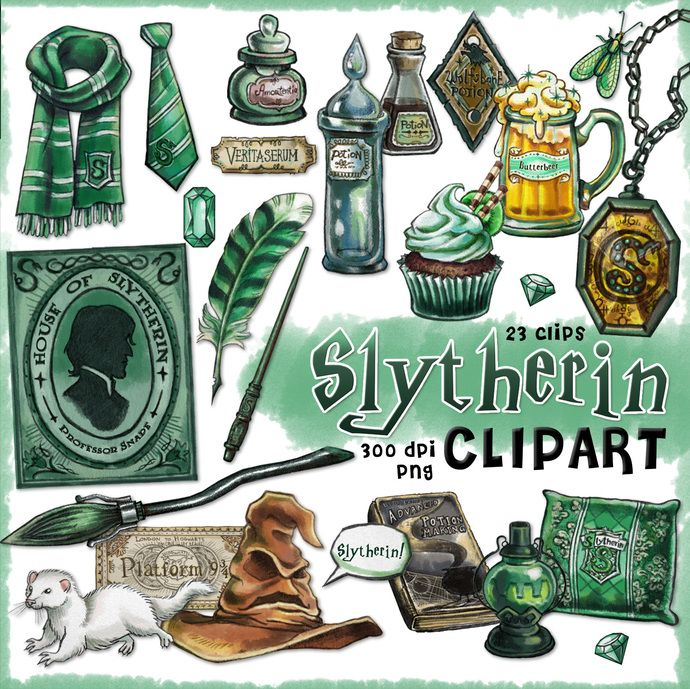 Slytherin clipart, Harry Potter clipart, Harry potter party, Hogwarts house, Slytherin planner, printable planner stickers, scrapbook