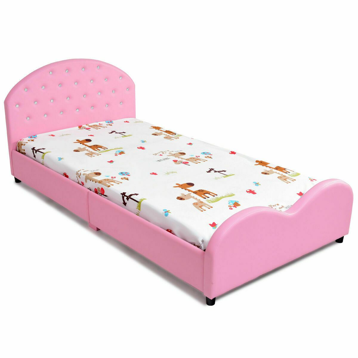 Kids Children Pu Upholstered Platform Wooden Princess Bed Twin