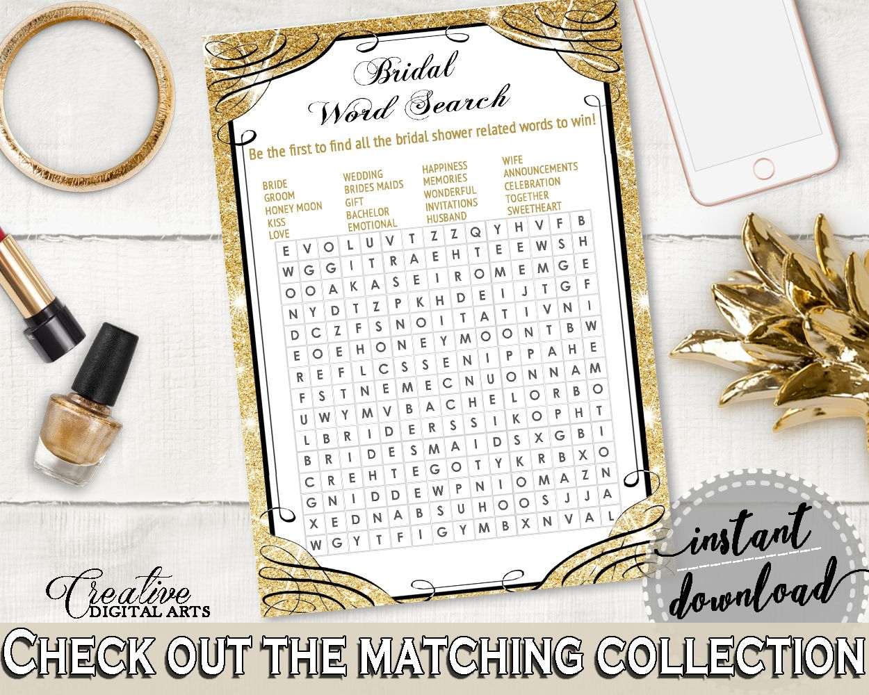 Bridal shower party supplies - Word Search In Glittering Gold Bridal Shower Gold And Yellow Theme Rows Of Squares Blazing Shower Party D Cor Party Supplies Jtd7p