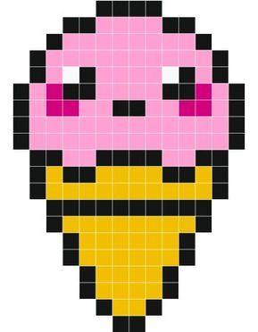 Cute Icecream Stickers Muraux Pixel Art à Imprimer