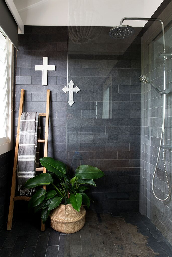 Dark Charcoal Wall Tiles In This Bathroom Make A Very