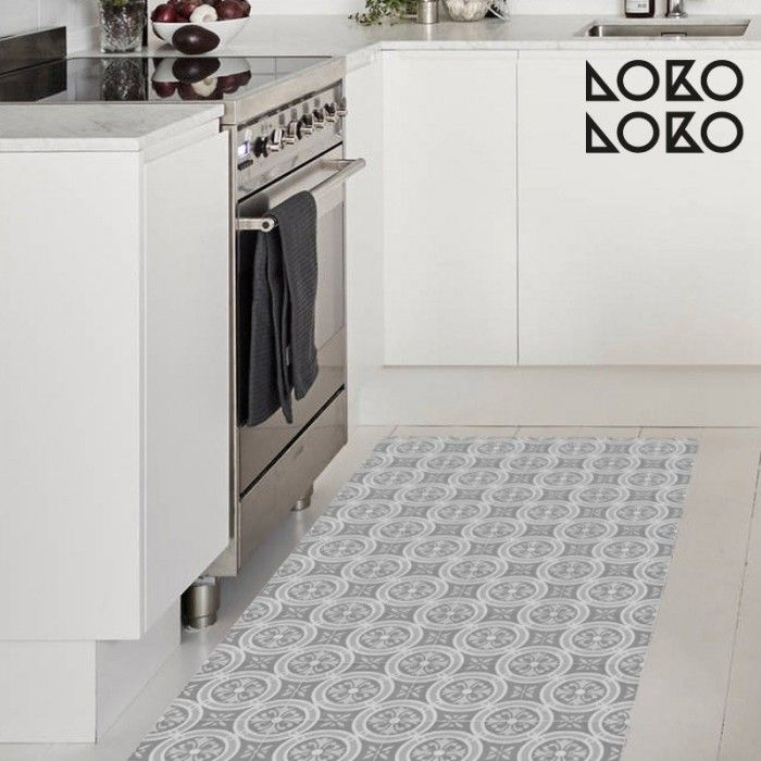 Patr n vintage 1 blanco y negro vinilo para muebles for Vinilo adhesivo suelo bano