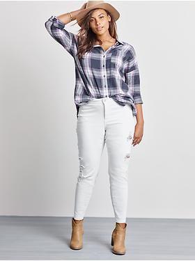 Women's Plus Size Clothes:  Mid-Rise Distresed Plus Size Jeans