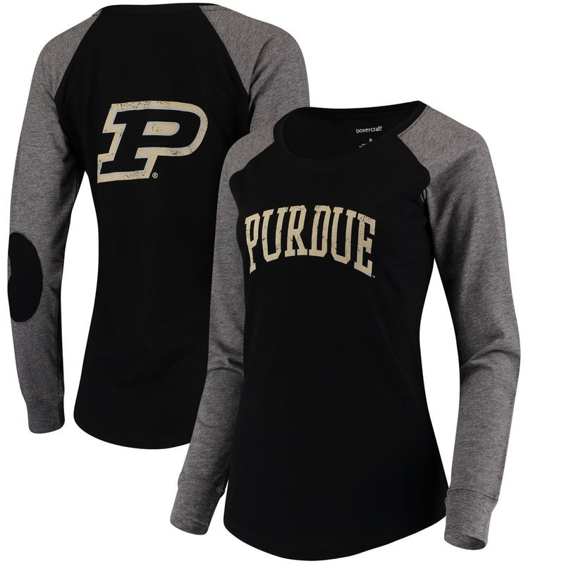 premium selection f7b2c e9969 Purdue Boilermakers Women s Preppy Elbow Patch 2-Hit Arch and Logo Long  Sleeve T-Shirt – Black Gray