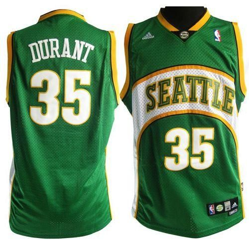 e1e4a62ad Thunder  35 Kevin Durant Green Seattle SuperSonics Style Stitched NBA Jersey