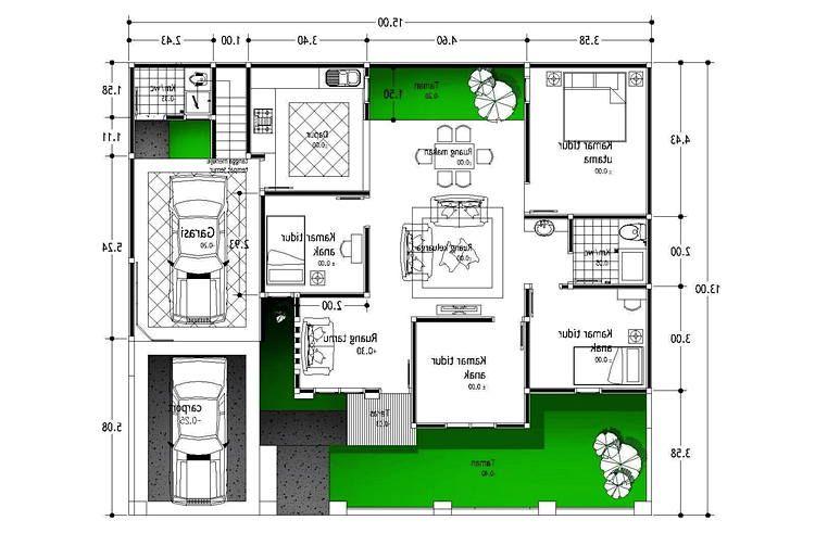 22 Inspirasi Denah Rumah 3 Kamar Denah Rumah Rumah Denah Lantai Rumah