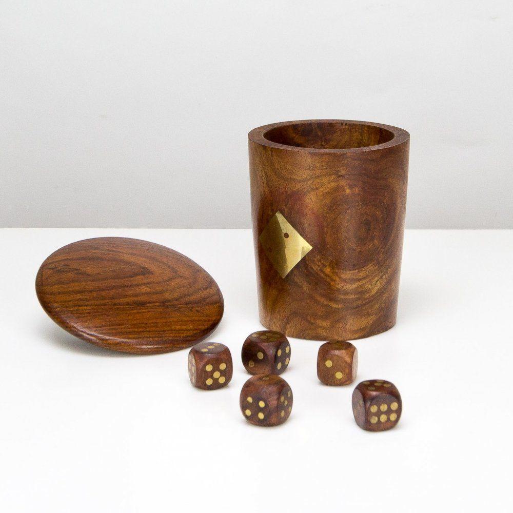 For Sale Hand Made Teak Brass Dice Cup Denmark 1960s Dice Cup Handmade Teak