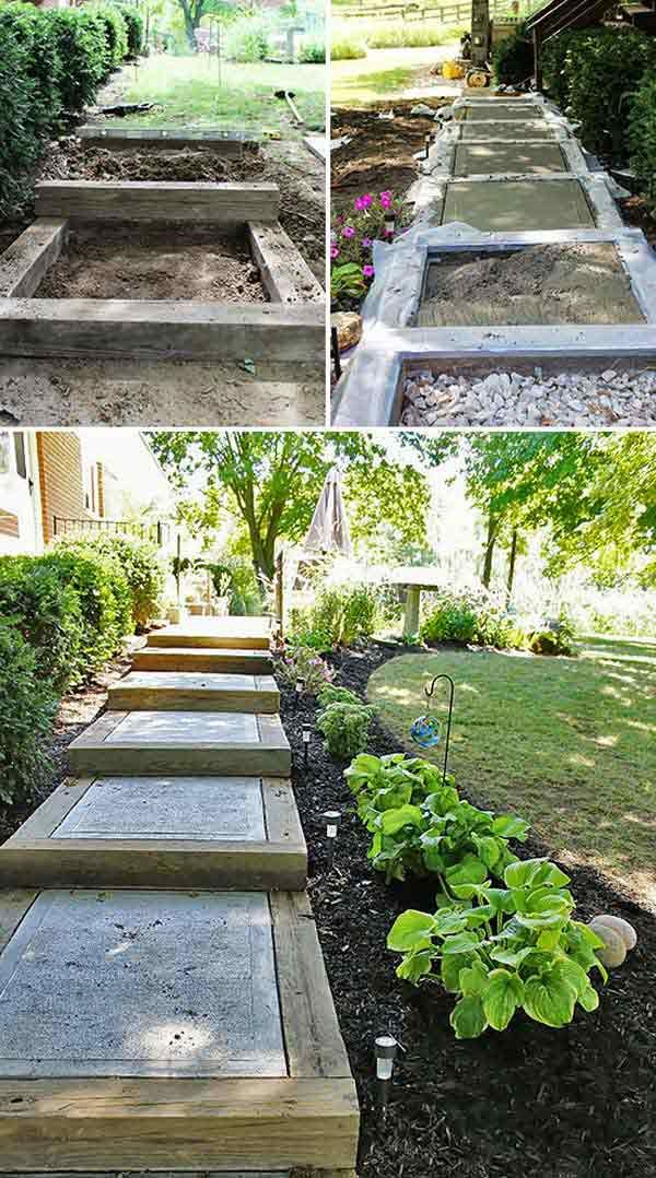 Recycle Some Old Timbers And Pour Concrete In Each Step