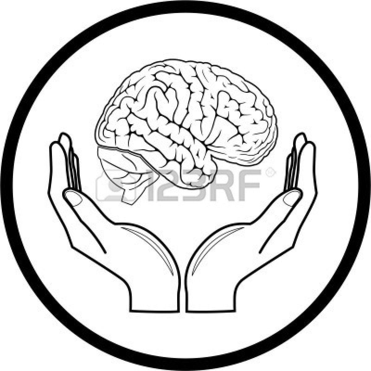 Vector cerebro en manos icono. Blanco y negro. Simplemente el cambio ...