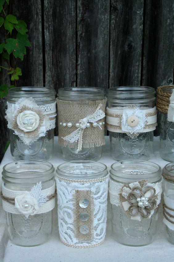 burlap lace mason jars hochzeit pinterest gl ser dekorieren flaschen dekorieren und. Black Bedroom Furniture Sets. Home Design Ideas