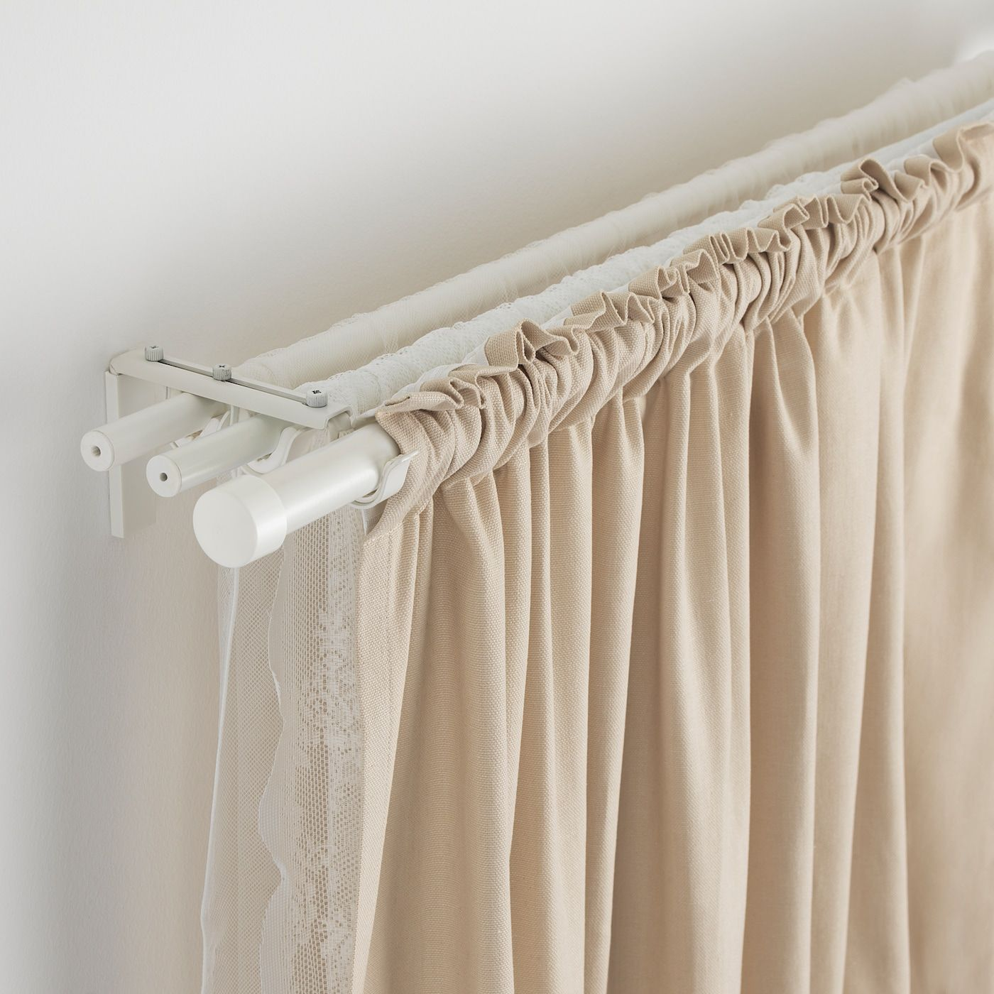 Ikea Hugad White Curtain Rod In 2020 Double Rod Curtains Double