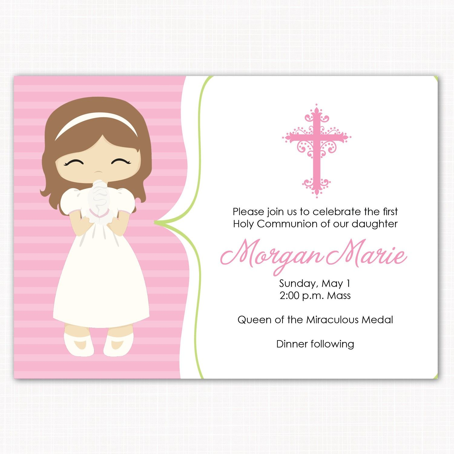 First Communion Invitation Sweet Girl 15 00 Via Etsy 1era