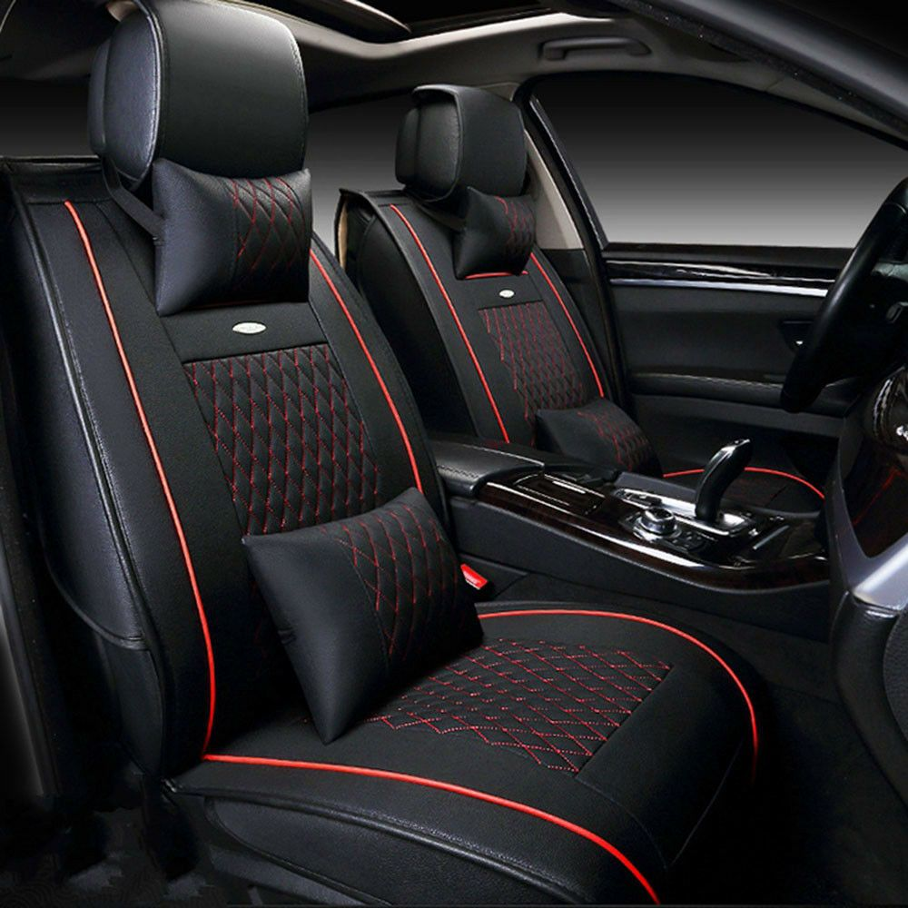 Ad Ebay Car Suv Black Red 5 Seat Pu Leather Seat Covers Cushion Front Rear Free Pillows Leather Car Seat Covers Car Seats Leather Car Seats