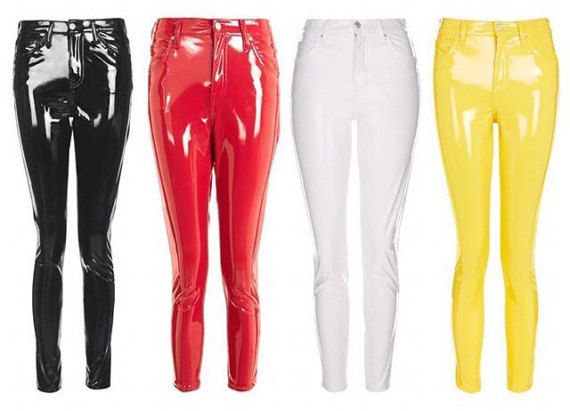 Skinny Pvc Jeans Made Of Real Glossy Stretch Vinyl Not Lycra Spandex Etc High Shine Faux Leather Multi Leggings Are Not Pants Shiny Pants Women S Leggings