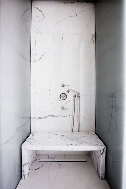 Freestanding Bench Marble Showers Small Bathroom With Shower