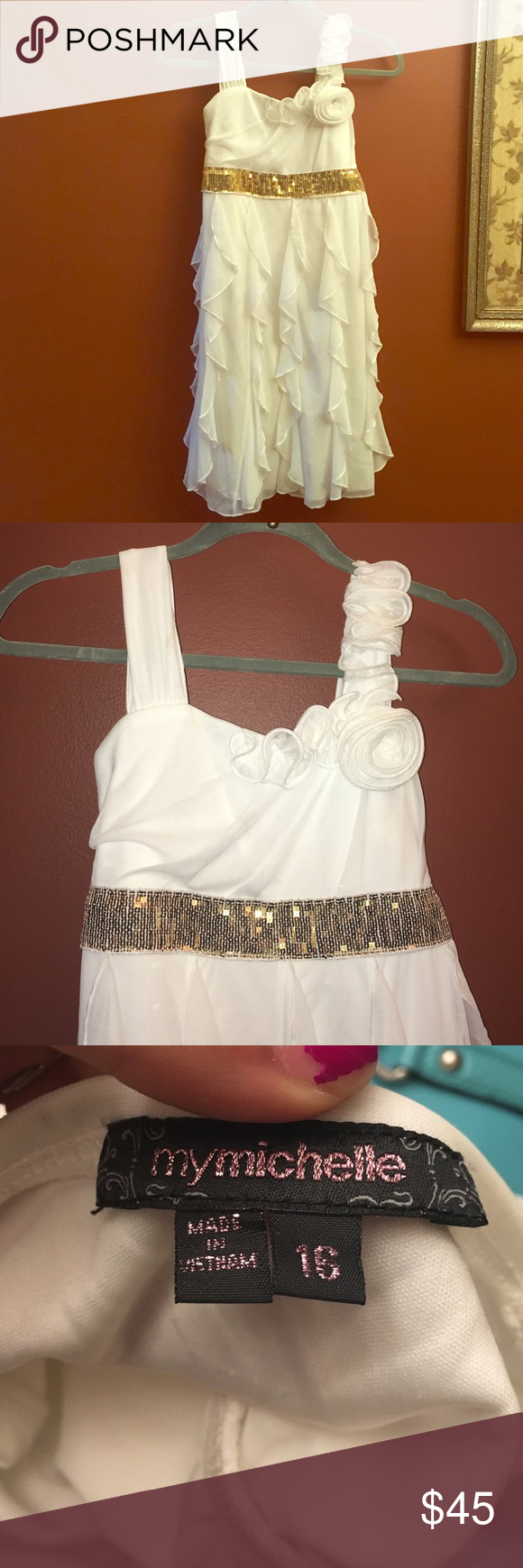 Girls party dress from macyus white flowy dress gold belts and