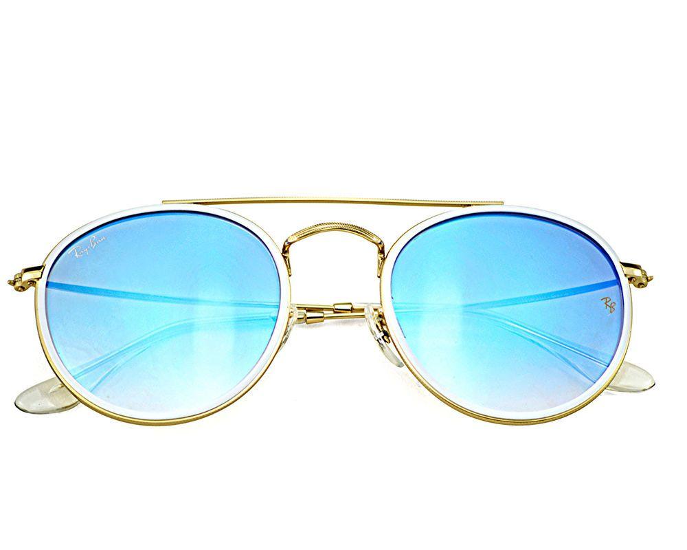 766d159d8d4d60 Ray-Ban RB3647N Round Double Bridge 001 4O Gold Frame Blue Gradient Flash