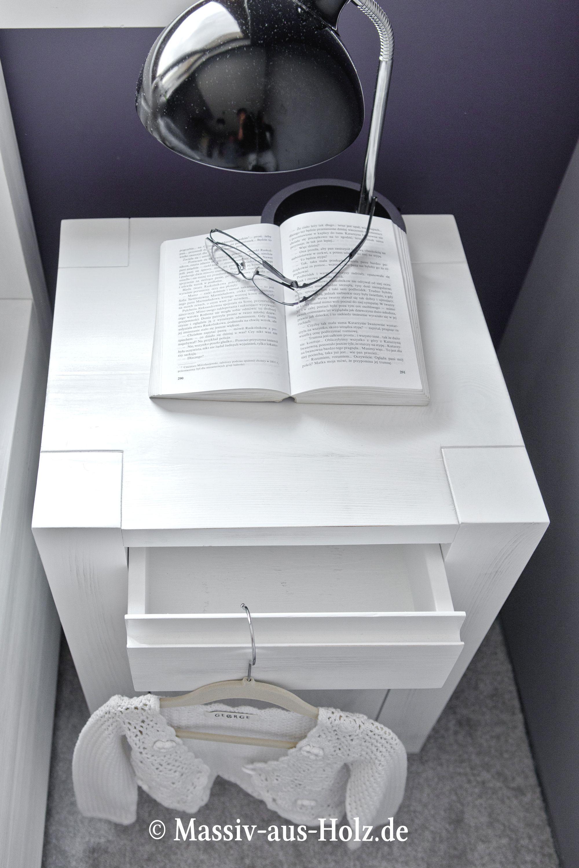 Schlafzimmer modern weiß holz  Nachtschrank - modern, schlicht www.massiv-aus-holz.de #Nachttisch ...