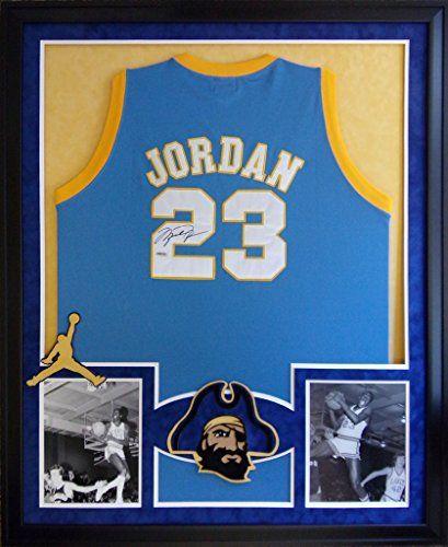 b28c3aa388ef Michael Jordan Framed Jersey Signed UDA COA UpperDeck Laney High School  Bulls Mister Mancave http