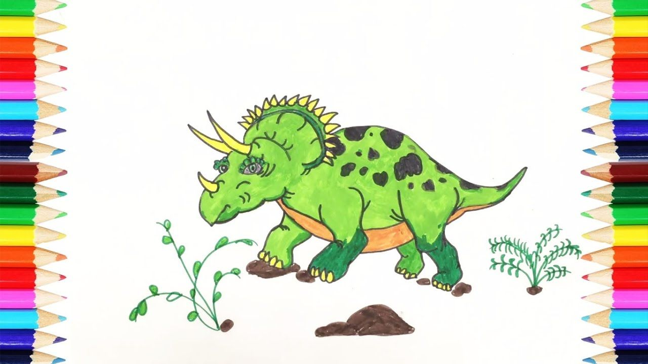 Coloring Pages Dinosaur | How To Draw Triceratops Dinosaur | Art ...
